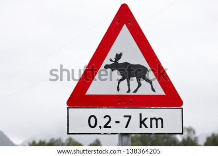 The unusual road sign one can see only in Norway. - stock photo