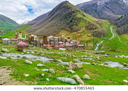 The unusual Svan architecture looks even more impressive with the unique Greater Caucasian nature, Upper Svaneti, Georgia.