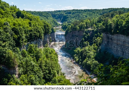 The Upper and Middle Falls can be seen from Inspiration Point in Letchworth State Park, New York. - stock photo