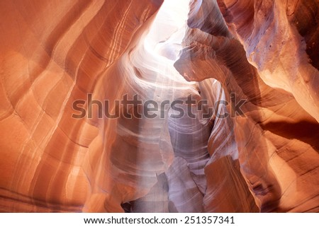 The Upper Antelope Canyon in Page, Arizona, United States. Indian Sacred Canyon in Navajo Reservation. Horizontal Image Orientation - stock photo