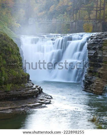 The upper Falls at Letchworth State Park. - stock photo