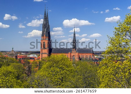 The Uppsala Cathedral is a cathedral located in the centre of Uppsala. The cathedral dates back to the late 13th century. View from Uppsala castle - stock photo