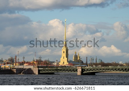 The urban landscape in summer with views of the Peter and Paul fortress.