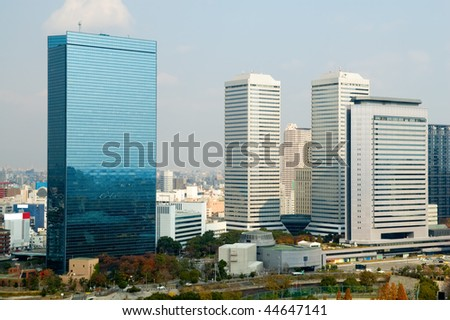 The urban view of Osaka city in Japan - stock photo