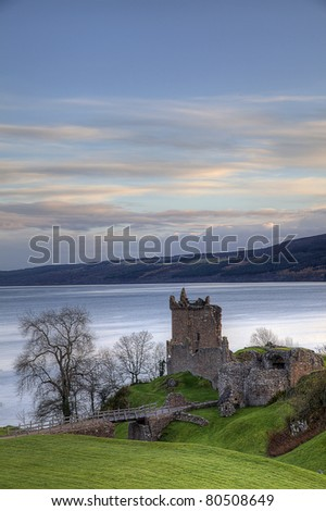 The Urqhart Castle near by Ness Loch, Scotland - stock photo