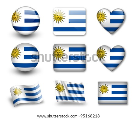 The Uruguayan flag - set of icons and flags. glossy and matte on a white background. - stock photo