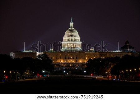 The US Capital after dark