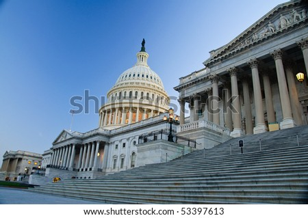 The US Capitol Building in twilight from the northwest in horizontal - stock photo