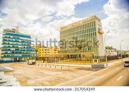 The US embassy in the city of Havana, Cuba - stock photo