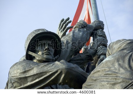 The US Marine Corps War Memorial is located near Arlington National Cemetery in Rosslyn, Virginia. - stock photo