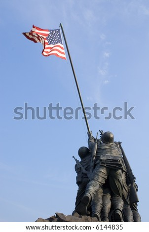 The US Marine Corps War Memorial is located near Arlington National Cemetery in Rosslyn, Virginia. It is dedicated to all personnel of the USMC who have died defending their country since 1775. - stock photo