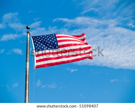 The US stars and stripes flag waving in the wind