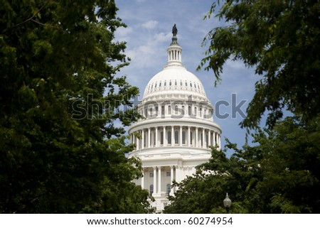 The USA Capitol dome framed by some large trees. - stock photo