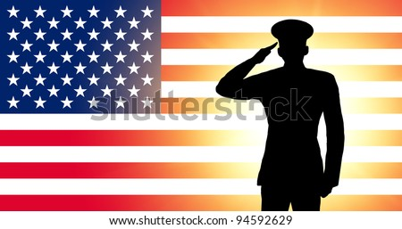 The USA flag and the silhouette of a soldier's military salute - stock photo