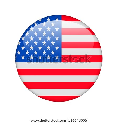 The USA flag in the form of a glossy icon. - stock photo