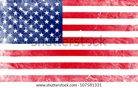 The USA flag painted in vintage style - stock photo