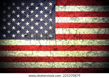 The USA flag painted on grunge wall - stock photo
