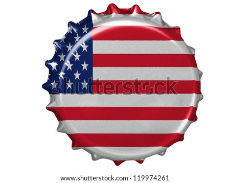 The USA flag painted on stopper - stock photo