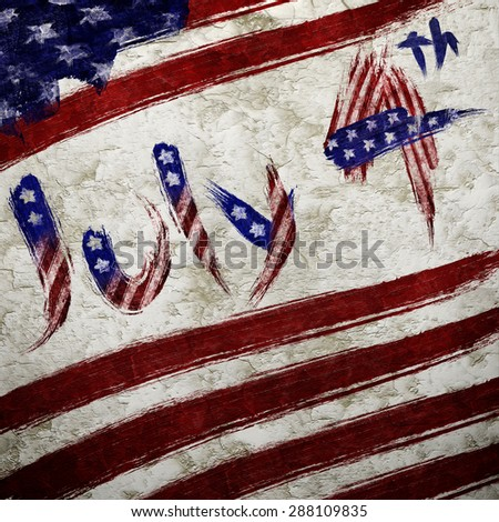 The USA flag painted on white paper with watercolor for the independence day July 4th - stock photo
