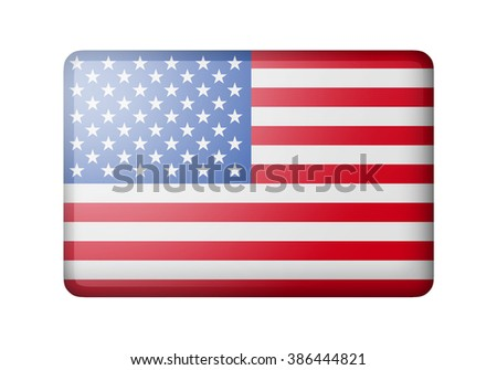The USA flag. Rectangular matte icon. Isolated on white background. - stock photo
