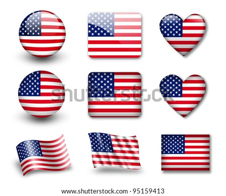 The USA flag - set of icons and flags. glossy and matte on a white background. - stock photo