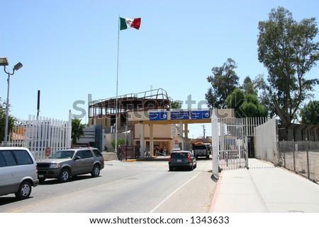 The USA Mexican border at Algodones, Mexico. - stock photo