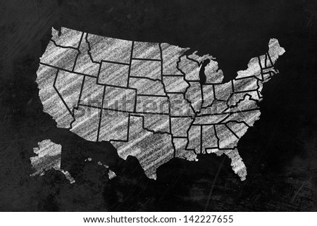 the usa with its single states drawn on a blackboard - stock photo