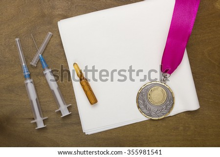 The use of doping for sports records. Doping set for victory. - stock photo