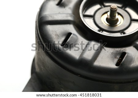 The used and old fan motor unit represent the car part concept related idea.