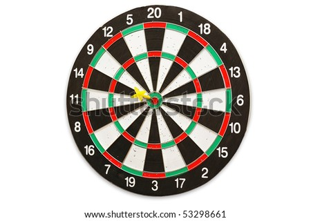 The used scratched dartboard on white