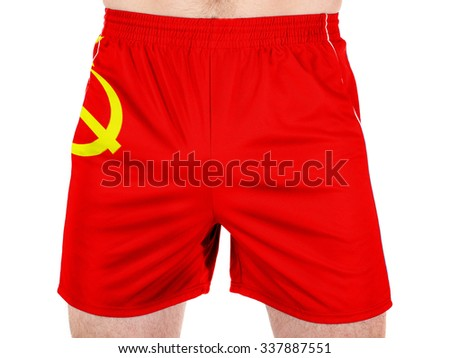 The USSR flag painted on  - stock photo