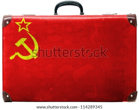 The USSR flag painted on  old grungy travel suitcase or trunk - stock photo
