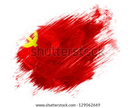 The USSR flag painted on  painted with brush on white background