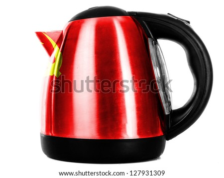 The USSR flag    painted on shiny metallic kettle - stock photo