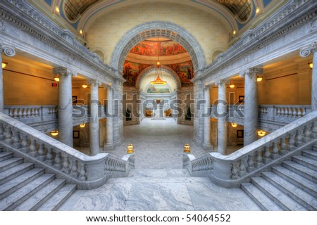 The Utah State Capitol is located on Capitol Hill, overlooking downtown Salt Lake City, Utah. - stock photo