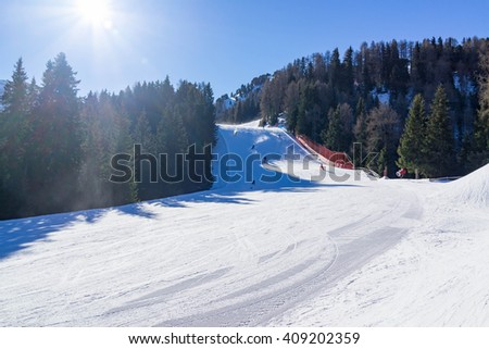 The Val di Fassa Italy ski resort, view of slopes for driving