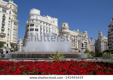 The Valencia, Spain Fountain in the main square. - stock photo