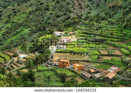 The Valle Gran Rey on the island La Gomera, Canary island, Spain - stock photo