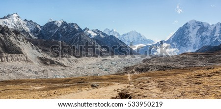 The valley of Khumbu glacier, view from the Kala Patthar on a sunny day - Nepal, Himalayas