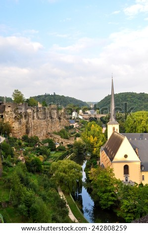 The valley of Luxembourg, called the Grund, UNESCO World Heritage Site since 1994. The river is called the Alzette. - stock photo