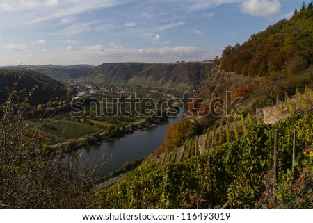 The valley of the German river Mosel - stock photo