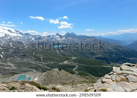The Valley of the Matterhorn from the Croce Carrel - 2,920 mt - Aosta Valley - stock photo