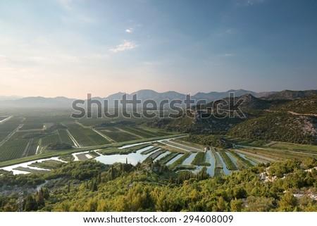 The valley of the Neretva river, Croatia. - stock photo
