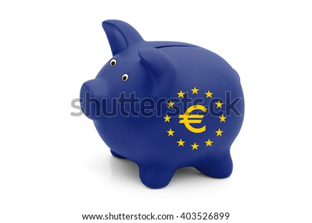 The value of the Euro, A blue piggy bank with a European Union flag and Euro Symbol isolated on white - stock photo