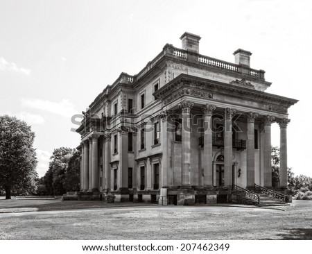 The Vanderbilt Mansion National Historic Site in Hyde Park, New York, black and white.