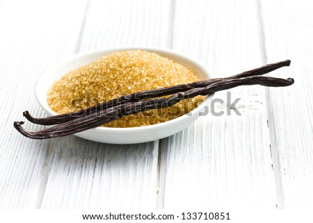 the vanilla pods with brown sugar - stock photo