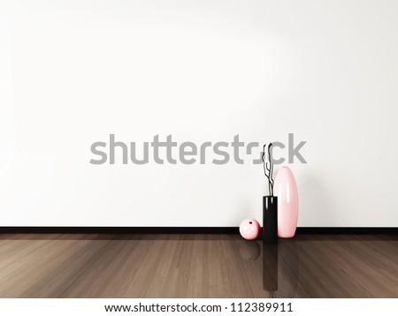 the vases on the floor, rendering - stock photo