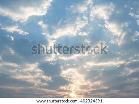 The vast blue sky and clouds sky,sun - stock photo