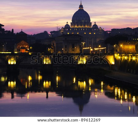 The Vatican at dusk - stock photo