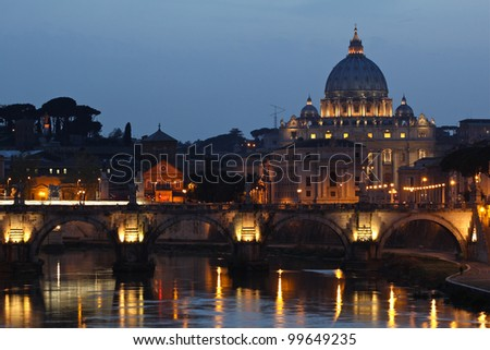 The Vatican City at sunset. - stock photo